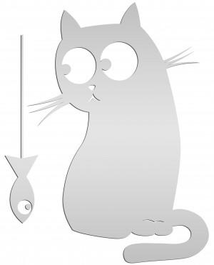 """Зеркало """"Котик с рыбкой"""""""
