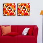 Картина диптих оранжевая