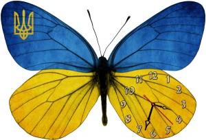 """Часы """"Бабочка желто-синяя"""""""