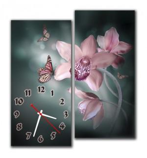 """Часы """"Розовые орхидеи"""""""