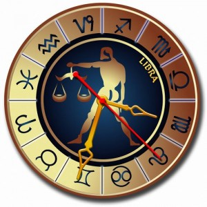 """Часы золотистые """"Весы"""""""
