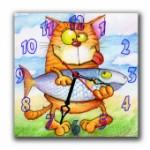 """Часы """"Кот с рыбкой"""""""