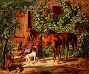 Лошади у крыльца